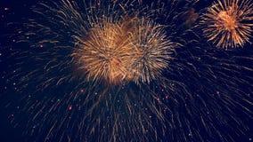 Ζωηρά πυροτεχνήματα σε έναν σκοτεινό ουρανό απόθεμα βίντεο