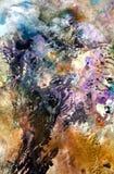 Ζωηρά ρόδινα μπλε σκοτεινά χρώματα, φωτεινό κρητιδογραφιών υπόβαθρο watercolor χρωμάτων ακρυλικό, ζωηρόχρωμη σύσταση στοκ φωτογραφία