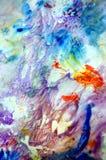 Ζωηρά ρόδινα μπλε χρώματα, φωτεινό κρητιδογραφιών υπόβαθρο watercolor χρωμάτων ακρυλικό, ζωηρόχρωμη σύσταση στοκ φωτογραφίες με δικαίωμα ελεύθερης χρήσης