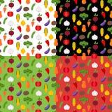Ζωηρόχρωμα άνευ ραφής σχέδια λαχανικών Στοκ εικόνα με δικαίωμα ελεύθερης χρήσης
