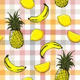 Ζωηρόχρωμα άνευ ραφής όμορφα εξωτικά φρούτα VE θερινής διάθεσης σχεδίων απεικόνιση αποθεμάτων