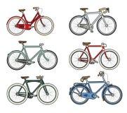Ζωηρόχρωμα αναδρομικά ποδήλατα Στοκ Φωτογραφία