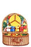 ζωηρόχρωμα ανοικτά picnic καλαθιών εργαλεία Στοκ Εικόνες