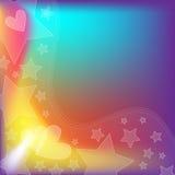 ζωηρόχρωμα αστέρια καρδιών ανασκόπησης Στοκ Φωτογραφία