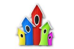 Ζωηρόχρωμα αστεία birdhouses Στοκ φωτογραφία με δικαίωμα ελεύθερης χρήσης