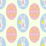 Ζωηρόχρωμα αυγά Πάσχας και άνευ ραφής υπόβαθρο τυπωμένων υλών σχεδίων λαγουδάκι απεικόνιση αποθεμάτων