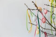 ζωηρόχρωμα αυγά Πάσχας κλάδων ανασκόπησης που κρεμούν το απομονωμένο λευκό Στοκ Εικόνες