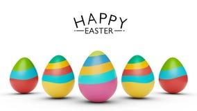 Ζωηρόχρωμα αυγά Πάσχας με την ευτυχή τρισδιάστατη απόδοση χαιρετισμών Πάσχας ελεύθερη απεικόνιση δικαιώματος