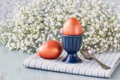 Ζωηρόχρωμα αυγά Πάσχας προγευμάτων Πάσχας και λουλούδια Στοκ εικόνες με δικαίωμα ελεύθερης χρήσης