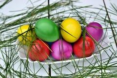 Ζωηρόχρωμα αυγά Πάσχας στο θέμα καλαθιών Στοκ Εικόνα