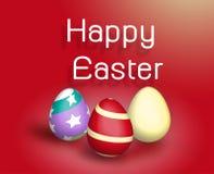 Ζωηρόχρωμα αυγά Πάσχας στο κόκκινο υπόβαθρο Στοκ φωτογραφίες με δικαίωμα ελεύθερης χρήσης