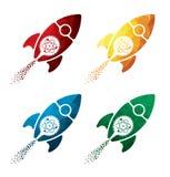 Ζωηρόχρωμα βιολογικά εικονίδια βλημάτων στο άσπρο υπόβαθρο bilogical εικονίδια πυραύλων EPS8 ελεύθερη απεικόνιση δικαιώματος
