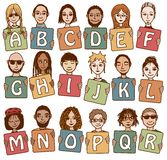 Ζωηρόχρωμα γράμματα Α αλφάβητου - Ρ Στοκ Εικόνα