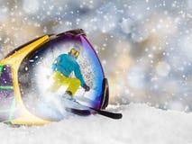 Ζωηρόχρωμα γυαλιά σκι Στοκ Εικόνες