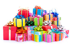 ζωηρόχρωμα δώρα κιβωτίων στοκ εικόνα με δικαίωμα ελεύθερης χρήσης