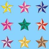 Ζωηρόχρωμα εικονίδια αστεριών που απομονώνονται στο ανοικτό μπλε υπόβαθρο Διανυσματικά αστέρια καθορισμένα διανυσματική απεικόνιση