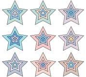 Ζωηρόχρωμα εικονίδια αστεριών που απομονώνονται στο λευκό απεικόνιση αποθεμάτων