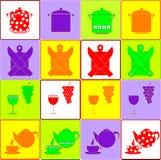 Ζωηρόχρωμα εικονίδια κουζινών καθορισμένα Στοκ φωτογραφία με δικαίωμα ελεύθερης χρήσης