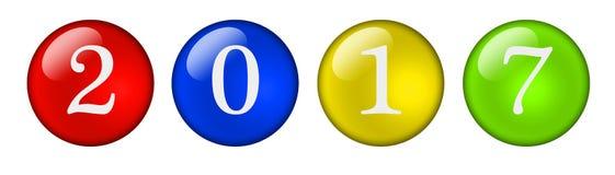 Ζωηρόχρωμα εικονίδια με τους αριθμούς 2017 Στοκ Εικόνες