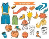 Ζωηρόχρωμα εικονίδια περιλήψεων καλαθοσφαίρισης καθορισμένα Στοκ εικόνα με δικαίωμα ελεύθερης χρήσης