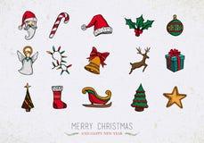 Ζωηρόχρωμα εκλεκτής ποιότητας εικονίδια Χριστουγέννων καθορισμένα Στοκ Φωτογραφία