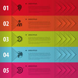 Ζωηρόχρωμα εμβλήματα Infographics για τις επιχειρησιακές παρουσιάσεις σας ελεύθερη απεικόνιση δικαιώματος