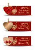 Ζωηρόχρωμα εορταστικά εμβλήματα που τίθενται για την ημέρα των διεθνών γυναικών Στοκ εικόνες με δικαίωμα ελεύθερης χρήσης