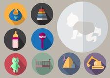 Ζωηρόχρωμα επίπεδα εικονίδια σχεδίου μωρών καθορισμένα, απεικόνιση Στοκ εικόνα με δικαίωμα ελεύθερης χρήσης