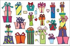 Ζωηρόχρωμα επίπεδα κιβώτια δώρων αφαιρέστε doodle τις συρμένες floral απεικονίσεις χεριών που τίθενται Στοκ Εικόνα