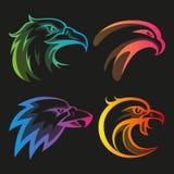 Ζωηρόχρωμα επικεφαλής λογότυπα αετών με τις κλίσεις ουράνιων τόξων απεικόνιση αποθεμάτων