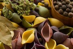 Ζωηρόχρωμα ζυμαρικά με τα καρυκεύματα Στοκ Εικόνες