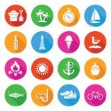 Ζωηρόχρωμα θερινές διακοπές και σύνολο εικονιδίων τουρισμού Στοκ Εικόνα