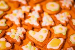 Ζωηρόχρωμα διακοσμημένα μπισκότα μελοψωμάτων - χριστουγεννιάτικα δέντρα, καρδιά, αστέρι Στοκ εικόνες με δικαίωμα ελεύθερης χρήσης