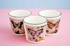 Ζωηρόχρωμα διακοσμητικά δοχεία λουλουδιών με το σχέδιο πεταλούδων Στοκ Εικόνες
