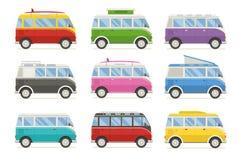 Ζωηρόχρωμα διανυσματικά εικονίδια λεωφορείων θερινών τουριστών Στοκ Εικόνες