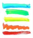 Ζωηρόχρωμα διανυσματικά κτυπήματα βουρτσών watercolor Στοκ Φωτογραφίες