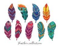 Ζωηρόχρωμα διανυσματικά φτερά που τίθενται στο εθνικό ύφος Στοκ Εικόνα