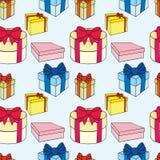 Ζωηρόχρωμα κιβώτια δώρων με τα τόξα και τις κορδέλλες Διανυσματική άνευ ραφής απεικόνιση απεικόνιση αποθεμάτων