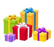 Ζωηρόχρωμα κιβώτια δώρων με τα τόξα επίσης corel σύρετε το διάνυσμα απεικόνισης Στοκ Εικόνες