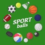 Παιχνίδια σφαιρών Ζωηρόχρωμα κινούμενα σχέδια εμβλημάτων μπιλιάρδου καλαθοσφαίρισης μπέιζ-μπώλ χόκεϋ ποδοσφαίρου σφαιρών συλλογής διανυσματική απεικόνιση