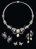 Ζωηρόχρωμα κοσμήματα διαμαντιών πεταλούδων ελεύθερη απεικόνιση δικαιώματος