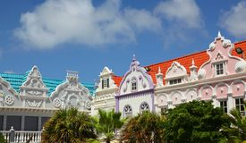 Ζωηρόχρωμα κτήρια Oranjestad Αρούμπα Στοκ Εικόνα