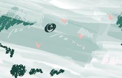 Ζωηρόχρωμα κτυπήματα βουρτσών watercolor με τα αφηρημένα πουλιά απεικόνιση αποθεμάτων