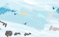 Ζωηρόχρωμα κτυπήματα βουρτσών watercolor με τα αφηρημένα πουλιά διανυσματική απεικόνιση