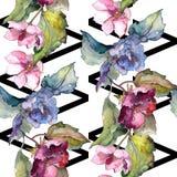 Ζωηρόχρωμα λουλούδια gardenia Floral βοτανικό λουλούδι Άνευ ραφής πρότυπο ανασκόπησης Στοκ Φωτογραφίες