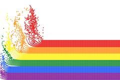 Ζωηρόχρωμα λωρίδες ουράνιων τόξων των πολύχρωμων πετώντας σημείων στο άσπρο διαφανές υπόβαθρο Διανυσματική απεικόνιση, EPS10 απεικόνιση αποθεμάτων