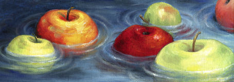 Ζωηρόχρωμα μήλα που επιπλέουν στη λεκάνη ποταμών διανυσματική απεικόνιση