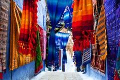 Ζωηρόχρωμα μαροκινά υφάσματα Στοκ Φωτογραφία