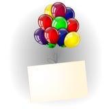 Ζωηρόχρωμα μπαλόνια και έμβλημα Στοκ εικόνες με δικαίωμα ελεύθερης χρήσης