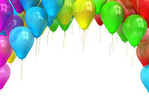 Ζωηρόχρωμα μπαλόνια με τη θέση για το κείμενό σας που απομονώνεται στο λευκό Στοκ Εικόνες